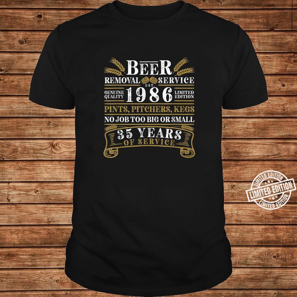 Funny I 35th Birthday I Beer Removal Service I Vintage Shirt long sleeved