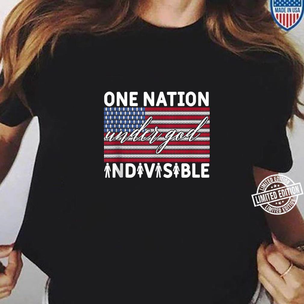 One Nation Under God Indivisible Pledge of Allegiance USA Shirt ladies tee