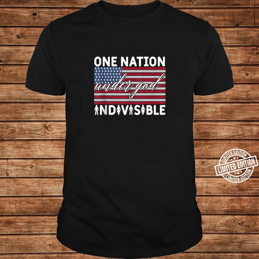 One Nation Under God Indivisible Pledge of Allegiance USA Shirt long sleeved