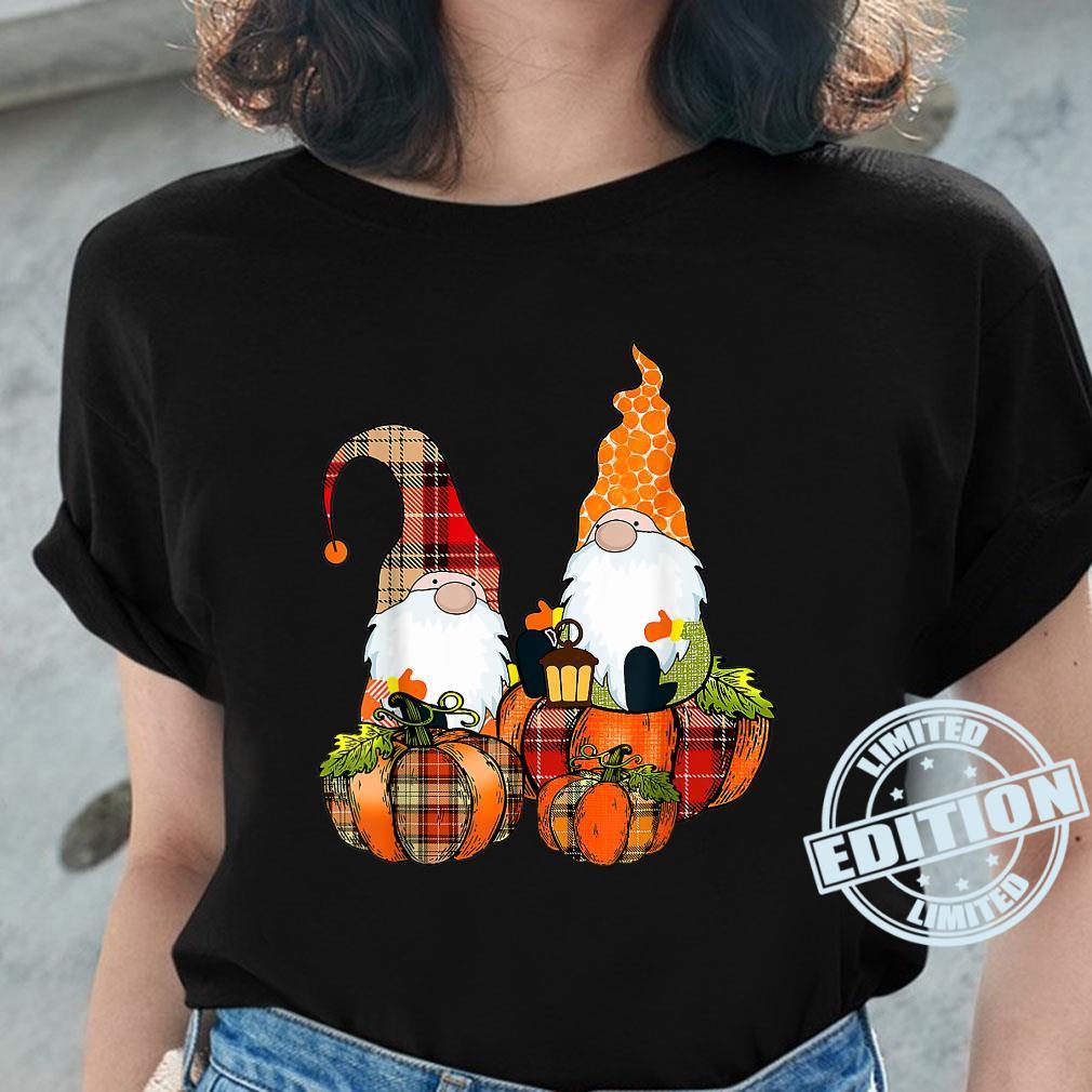 Pumpkin Gnomes Fall Autumn Cute Halloween Thanksgiving Shirt ladies tee