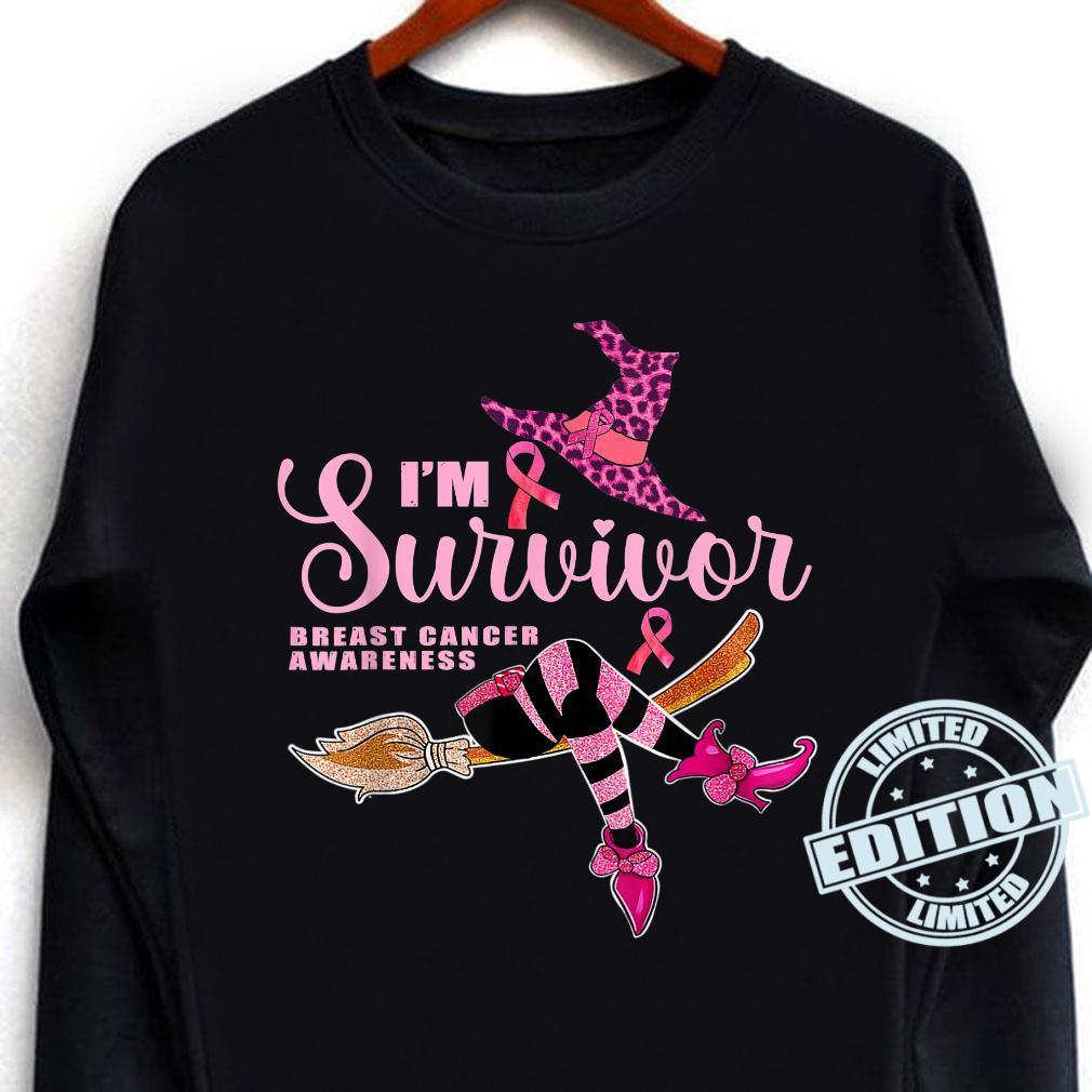Witch I'm A Survivor Halloween Breast Cancer Aeness Shirt long sleeved
