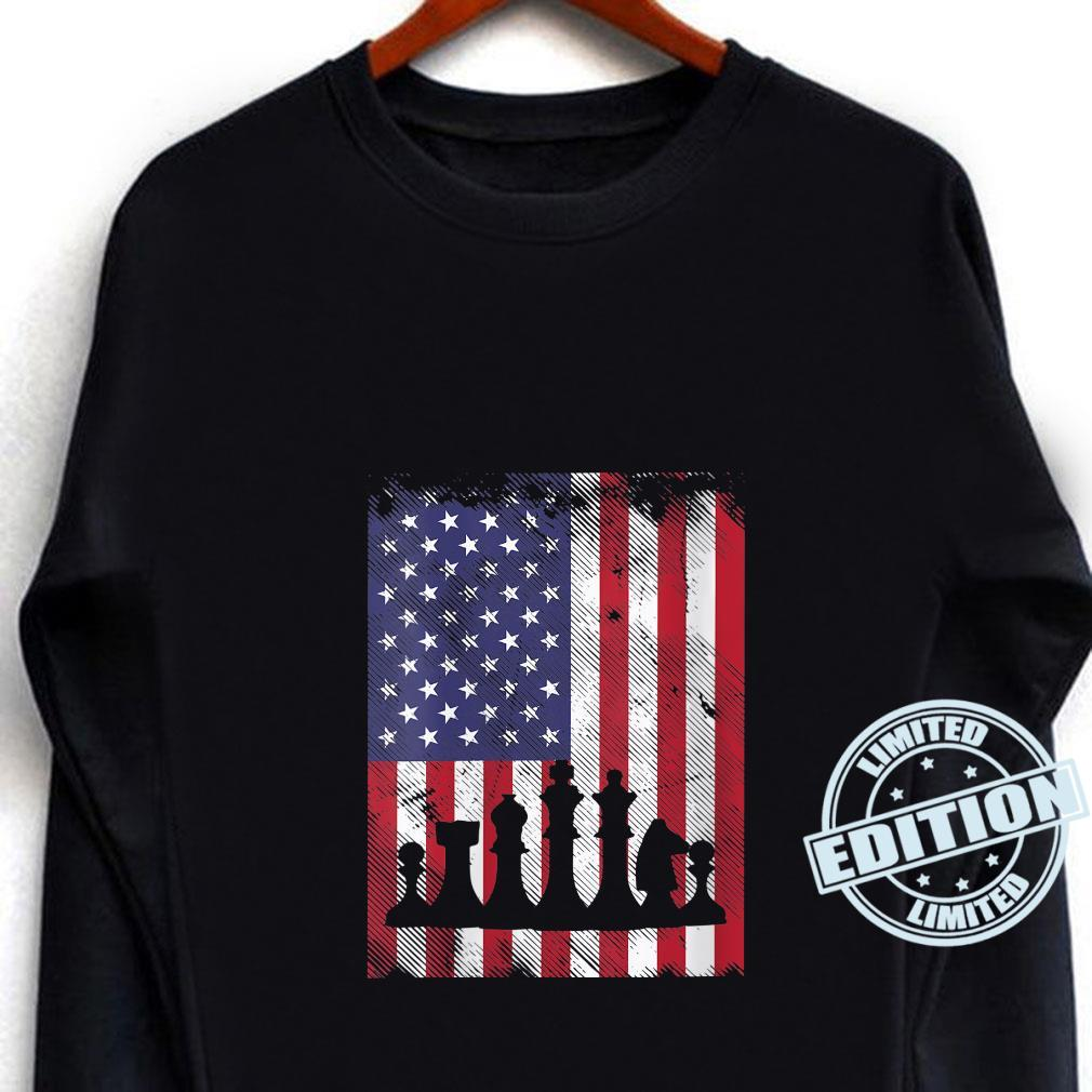 Womens American Flag Chess Vintage Patriotic Youth Shirt long sleeved