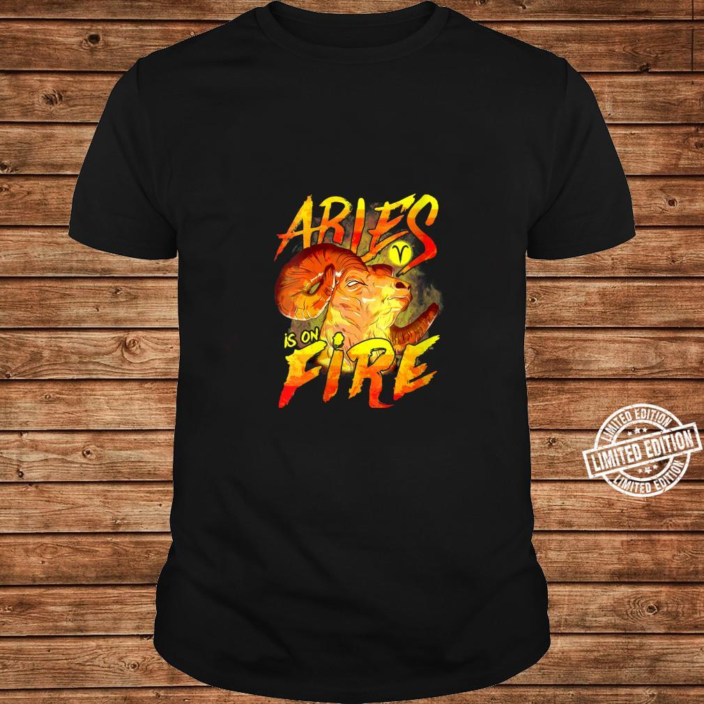 Womens Aries is on Fire Astrology Zodiac Sign Shirt long sleeved