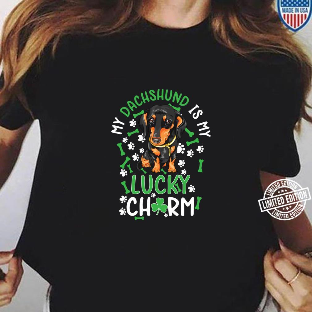 My Dachshund is My Lucky Charm paw dog st Patrick's day Shirt ladies tee